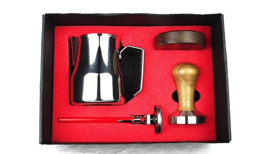 Barista Kit | Tamper ø 58 mm, Milchkännchen 0,5 l, Thermometer, Tamper-Halter | Made in Italy