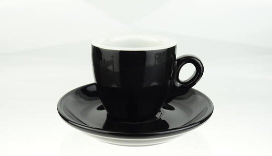 Schwarze extra dickwandige (8 mm) Espresso-Tasse »Bar Italia« (»Palermo«) | Nuova Point (56 ml)