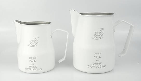 Motta Milchkännchen »Europa« | Edelstahl | weiß | Keep calm and drink Cappuccino | Made in Italy