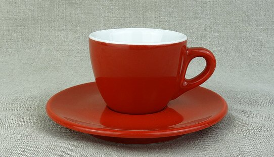 Extra dickwandige (0,8 cm) Espresso-Tasse »Aosta« | rot | Made in Italy | I.P.A. (max. 70 ml)