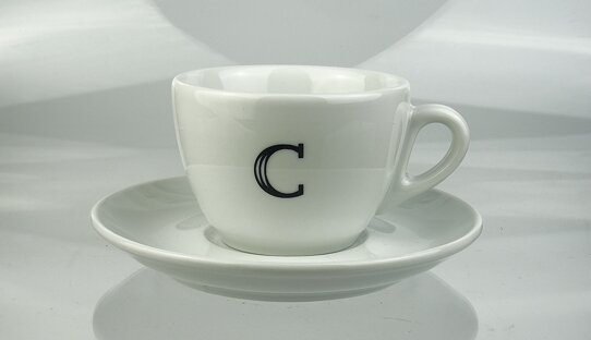 Edition Spiekermann | Cappuccino-Tassen mit A bis Z | FF Scala Jewel Crystal | max. 167 ml | Made in Italy & Germany